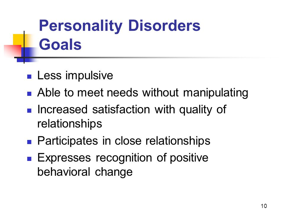 Personality Disorders Goals