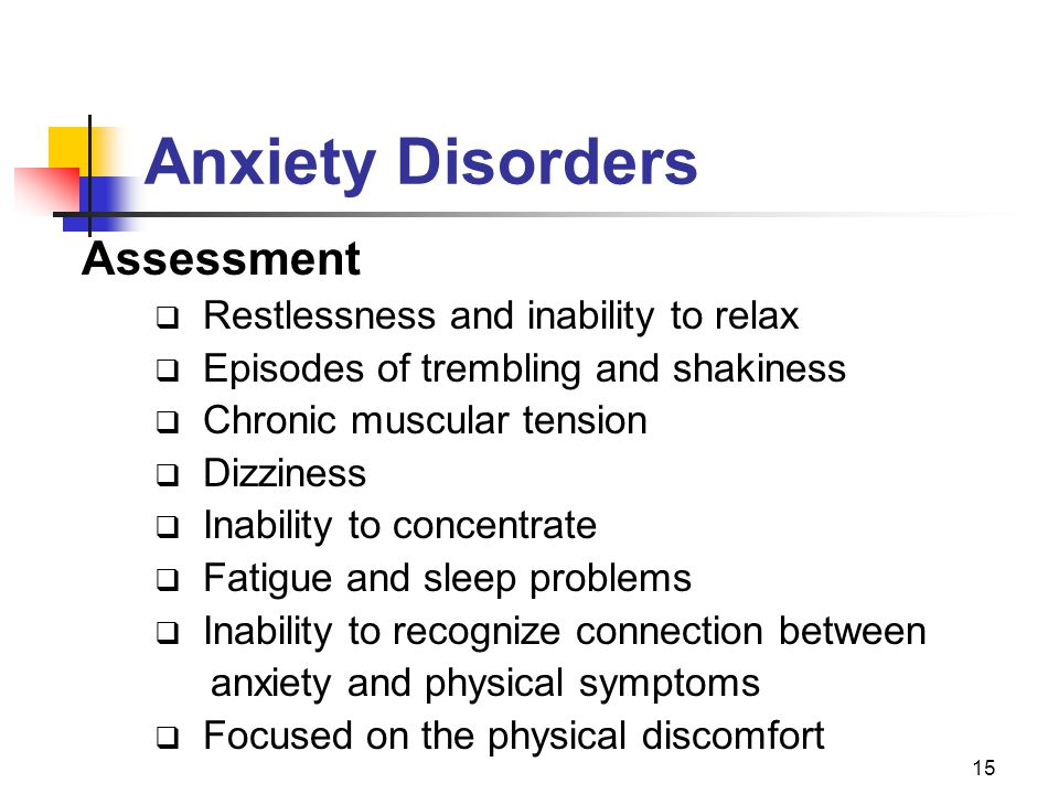 Anxiety Disorders Assessment Restlessness and inability to relax