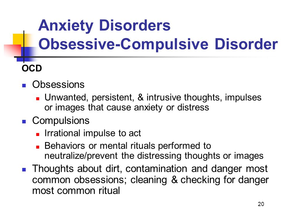 an introduction to obsessive compulsive disorder Introduction obsessive compulsive disorder (the fourth most prevalent psychiatric disorder), is an illness marked by the presence of either one or both of the criteria for having obsessive thoughts and repeating compulsive behaviors in order to repress the anxiety that the thoughts provoke.