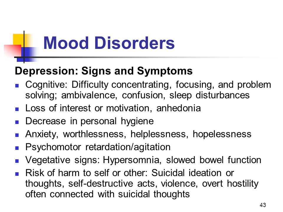 Mood Disorders Depression: Signs and Symptoms