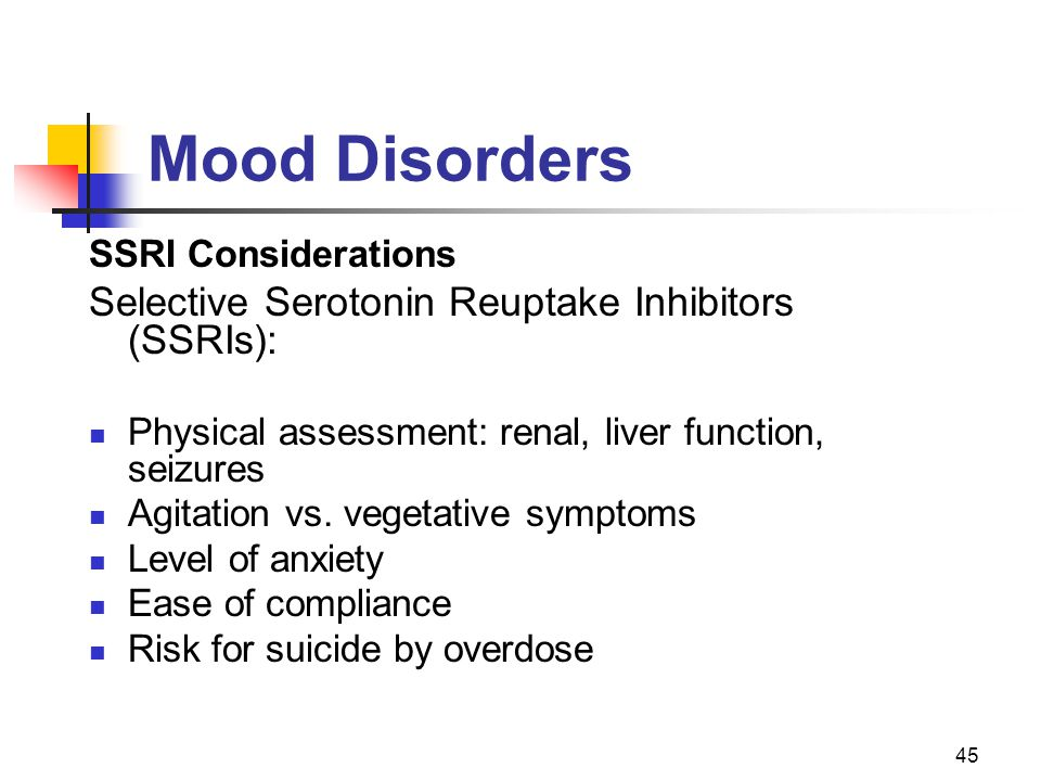 Mood Disorders Selective Serotonin Reuptake Inhibitors (SSRIs):