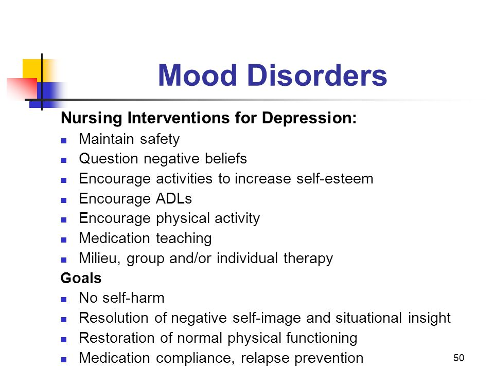 Mood Disorders Nursing Interventions for Depression: Maintain safety
