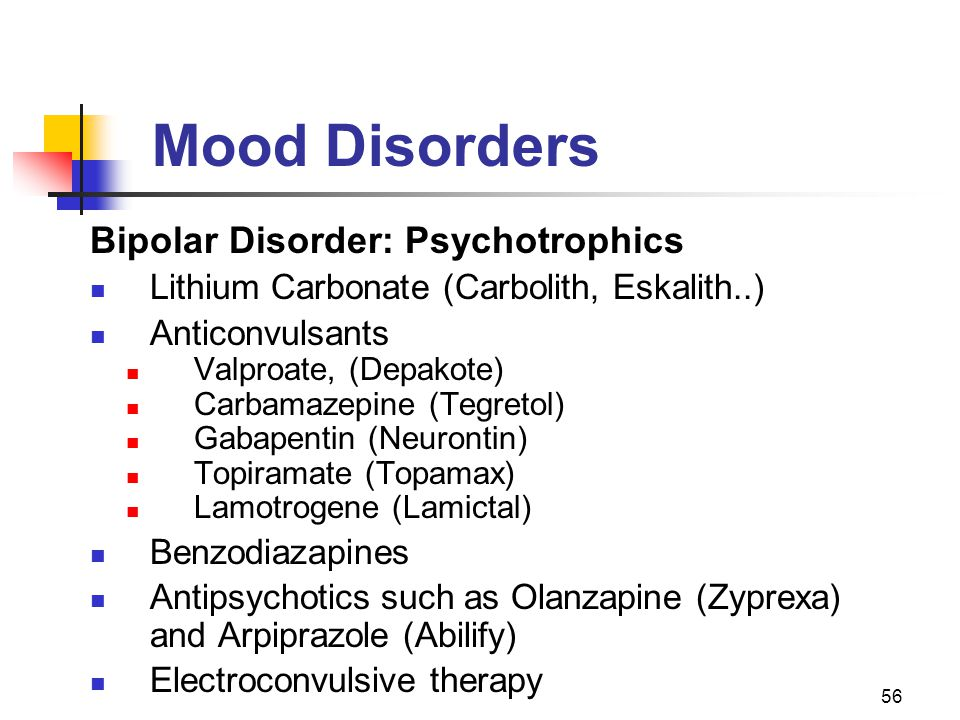 Mood Disorders Bipolar Disorder: Psychotrophics