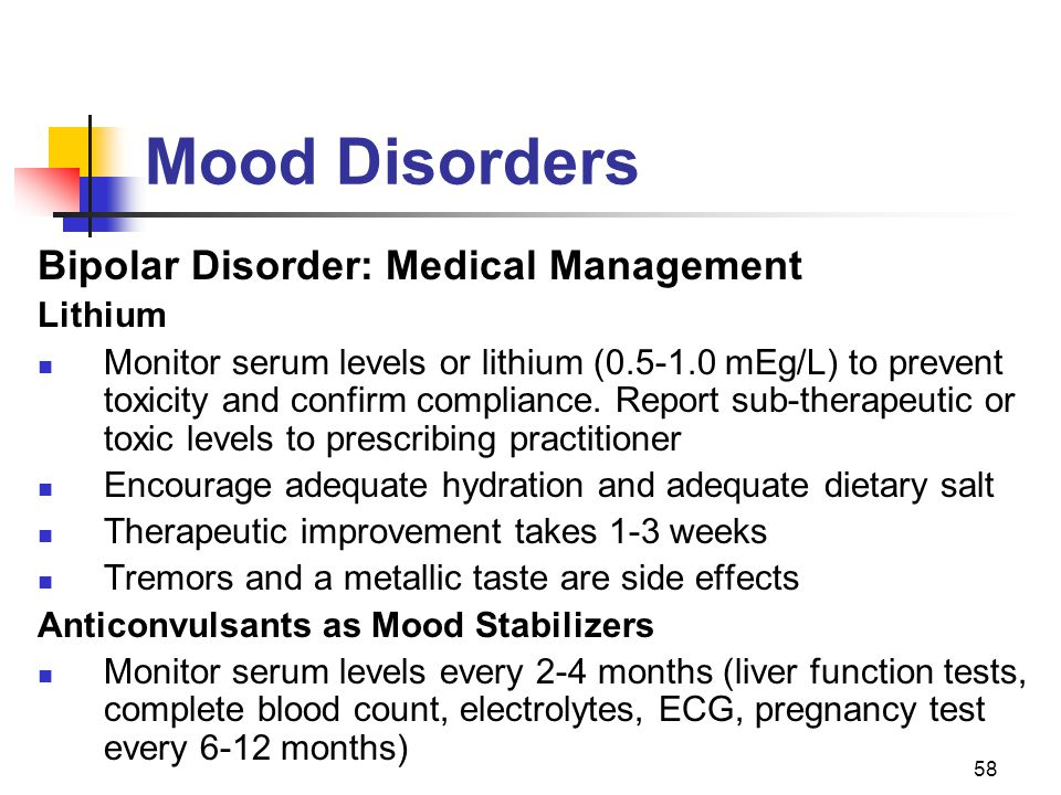 Mood Disorders Bipolar Disorder: Medical Management Lithium