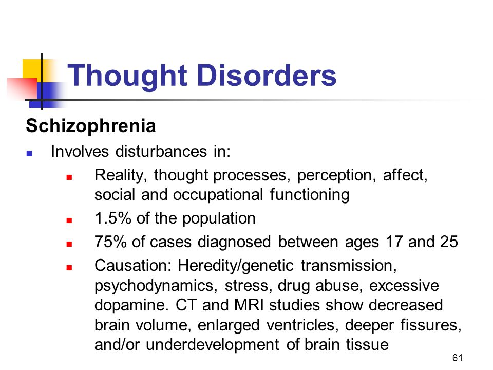 Thought Disorders Schizophrenia Involves disturbances in: