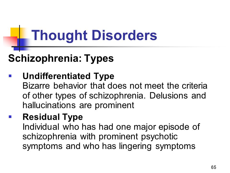 Thought Disorders Schizophrenia: Types Undifferentiated Type