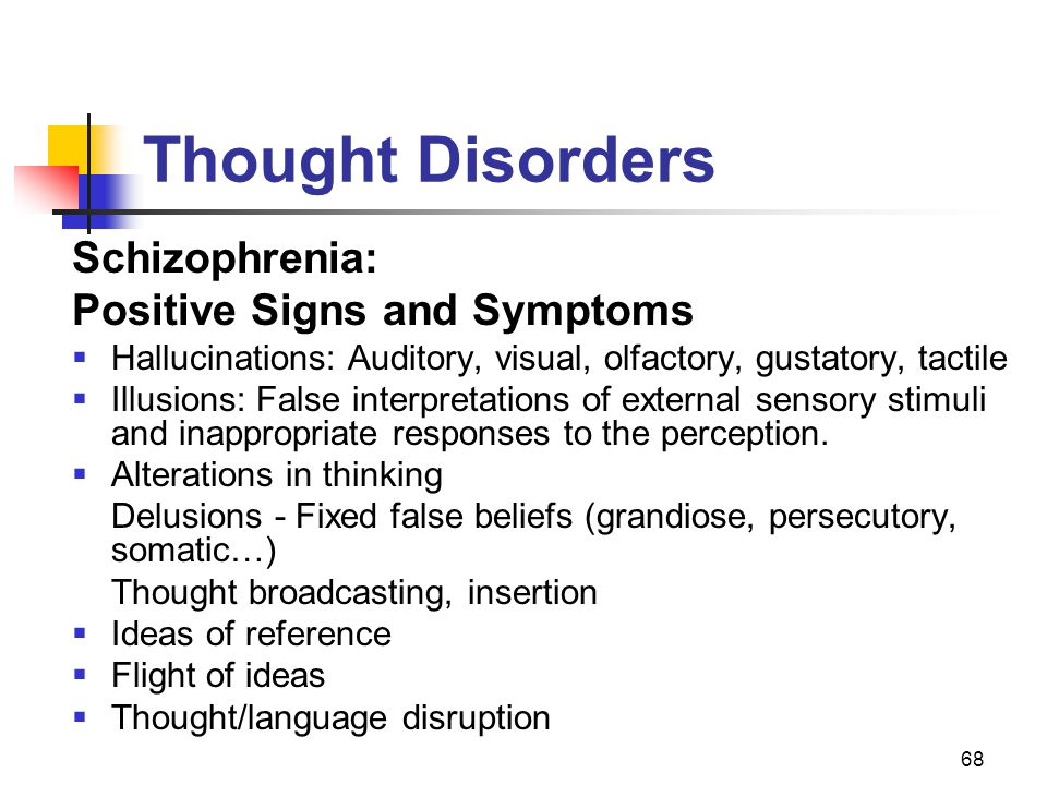 Thought Disorders Schizophrenia: Positive Signs and Symptoms