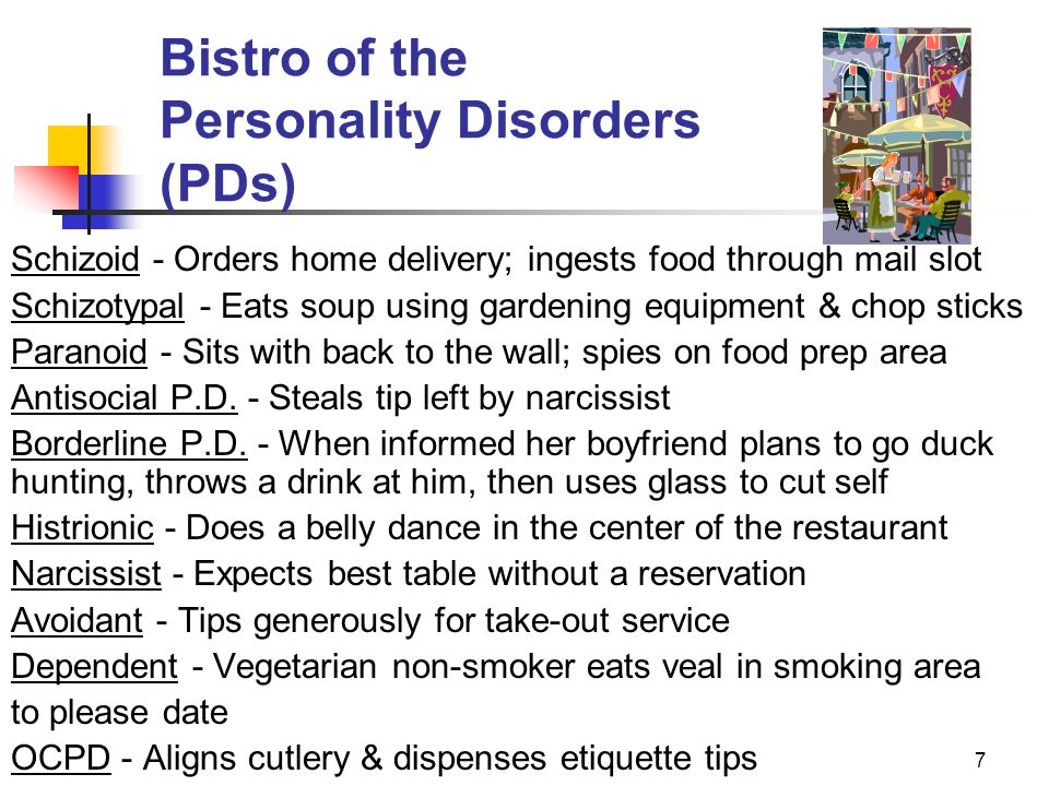 Bistro of the Personality Disorders (PDs)