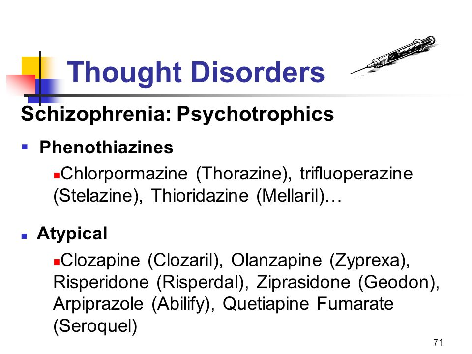 Thought Disorders Schizophrenia: Psychotrophics Phenothiazines