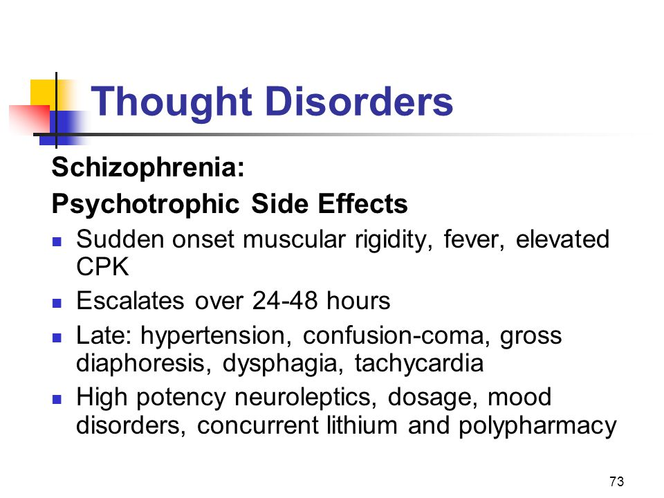 Thought Disorders Schizophrenia: Psychotrophic Side Effects