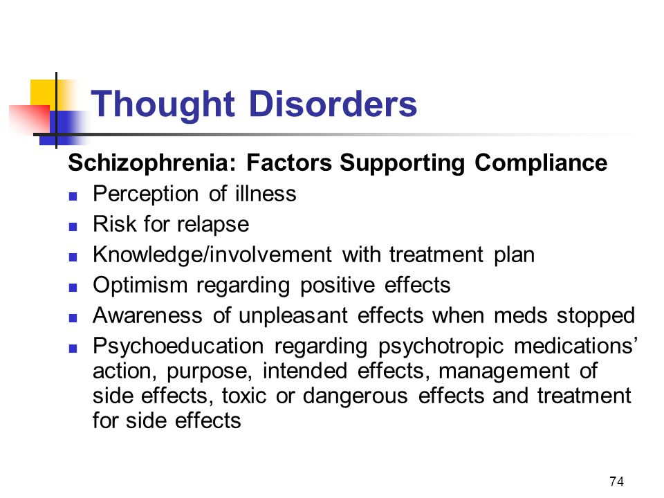 Thought Disorders Schizophrenia: Factors Supporting Compliance