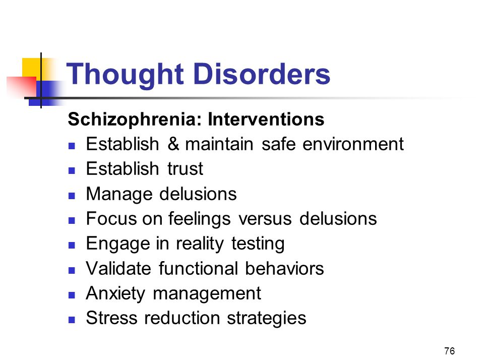 Thought Disorders Schizophrenia: Interventions