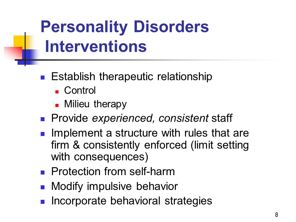 Personality Disorders Interventions