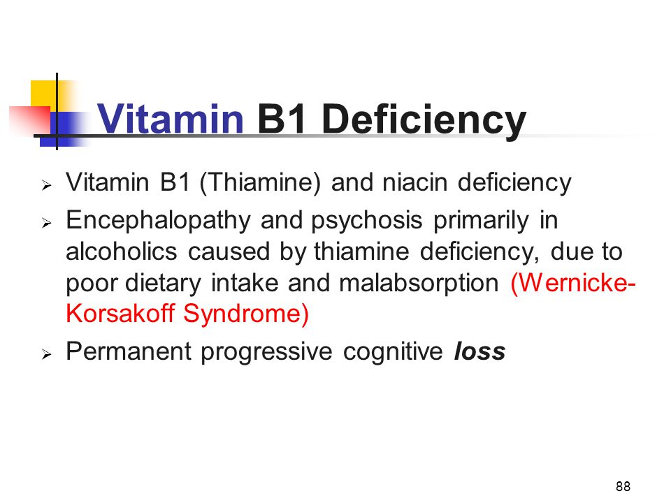 Vitamin B1 Deficiency Vitamin B1 (Thiamine) and niacin deficiency