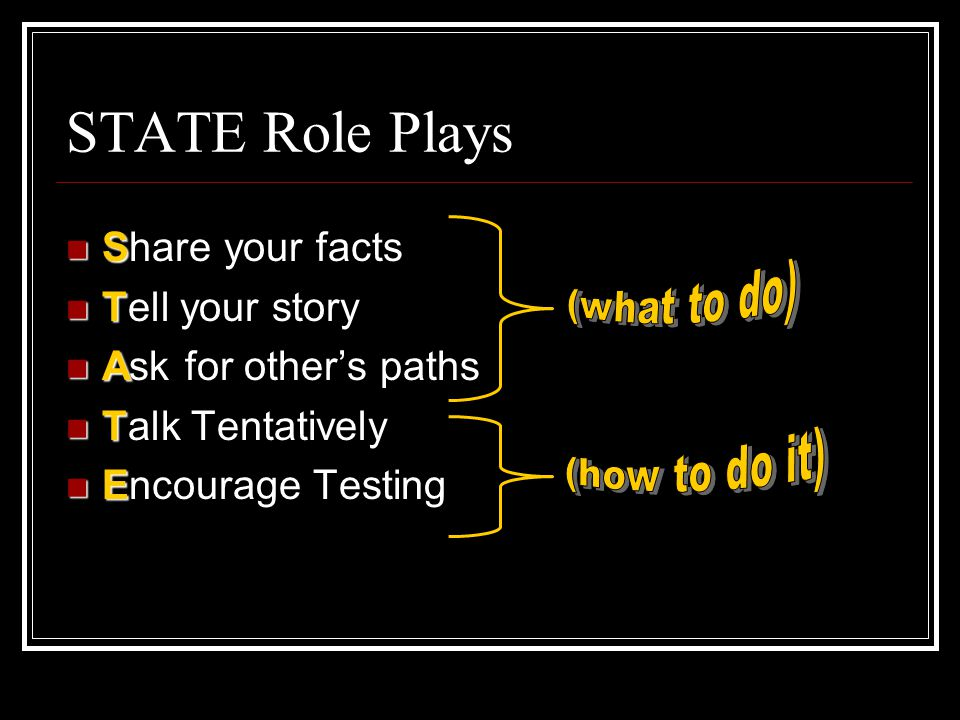 STATE Role Plays Share your facts Tell your story