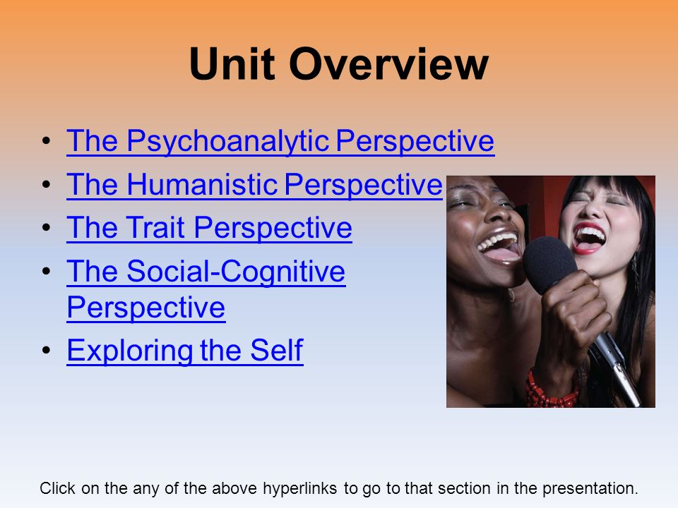 Unit Overview The Psychoanalytic Perspective
