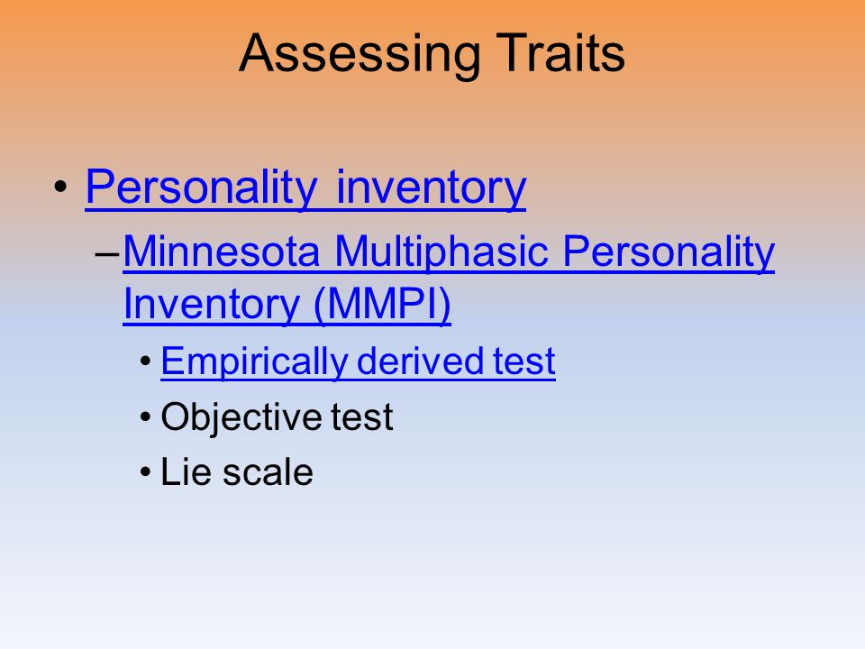 Assessing Traits Personality inventory