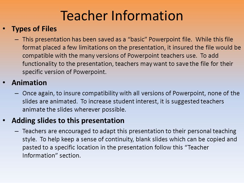 Teacher Information Types of Files Animation