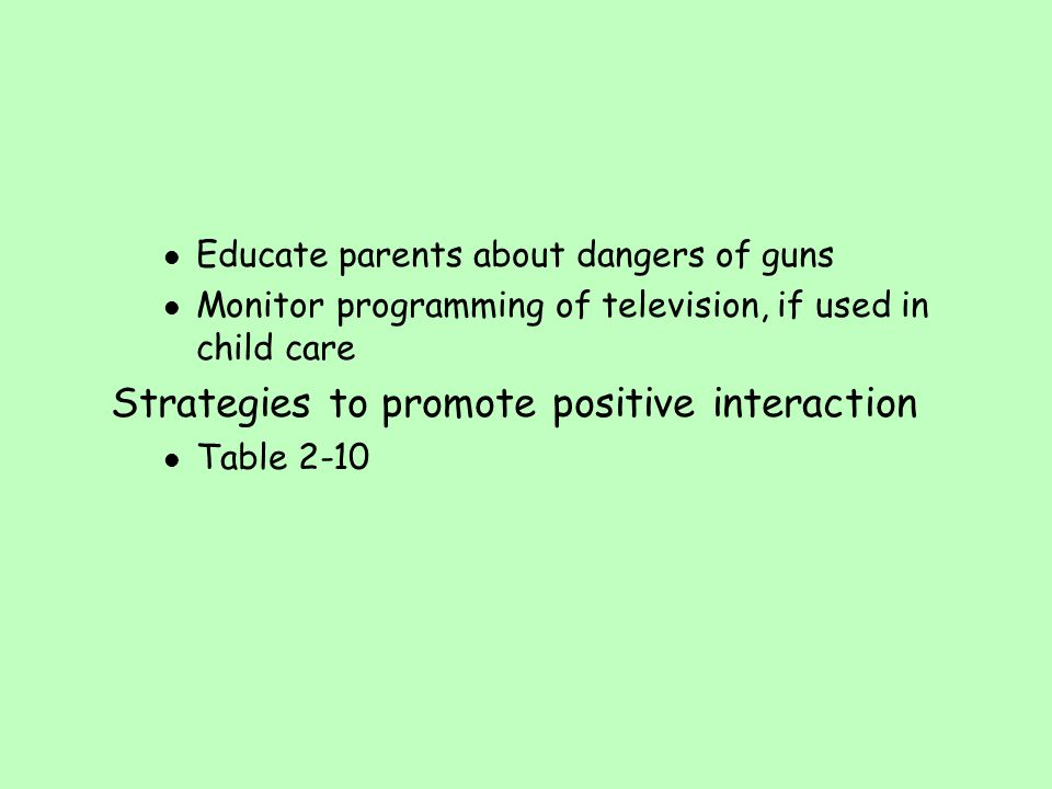 Strategies to promote positive interaction
