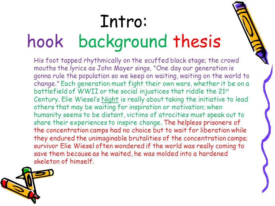 Intro: hook background thesis
