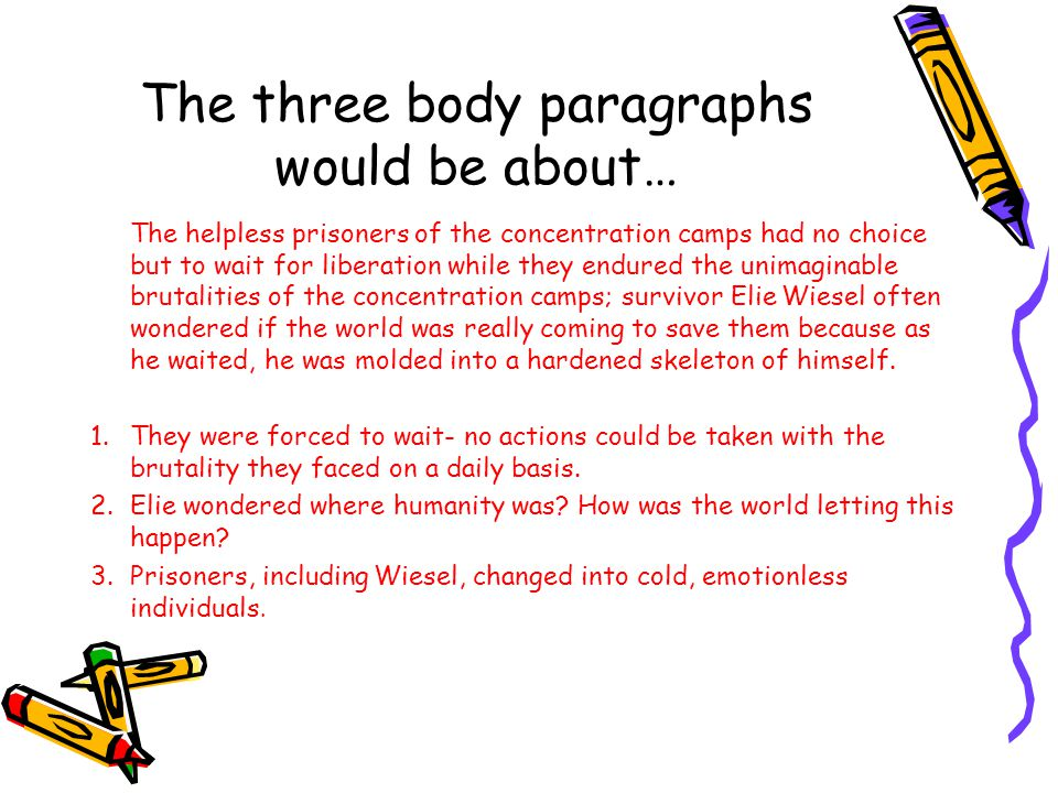 The three body paragraphs would be about…