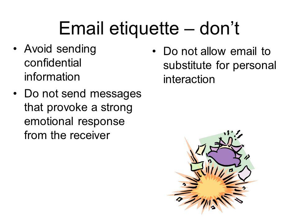 Email etiquette – don't