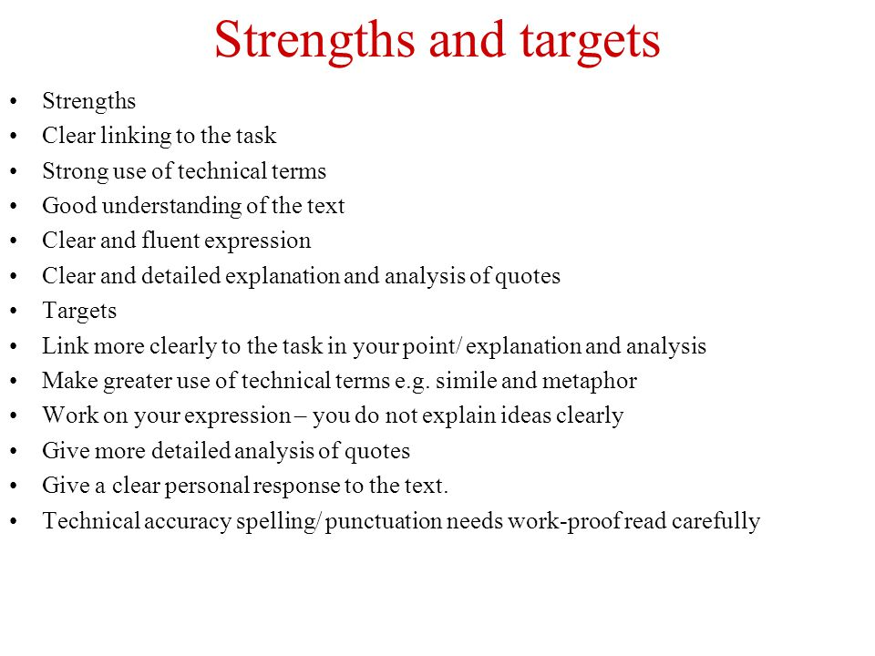 Strengths and targets Strengths Clear linking to the task