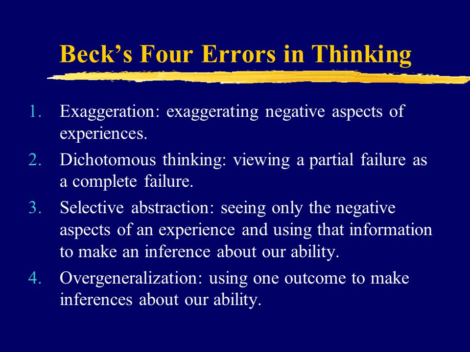 Beck's Four Errors in Thinking