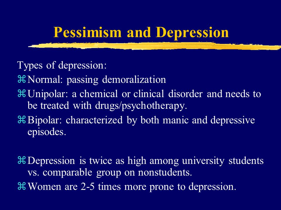 Pessimism and Depression