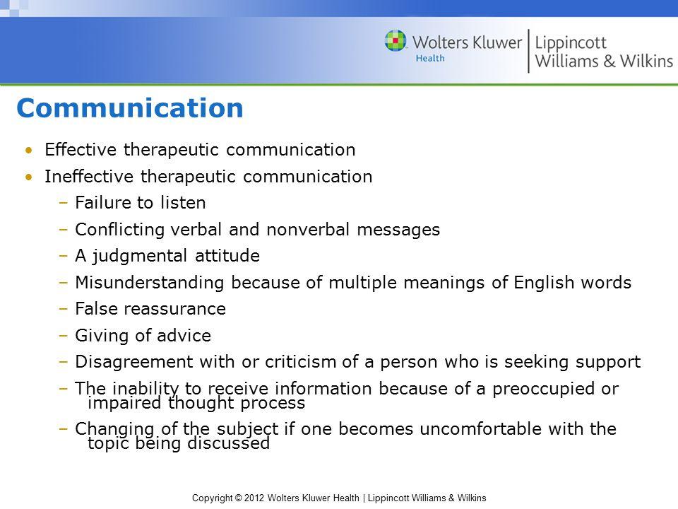 Communication Effective therapeutic communication