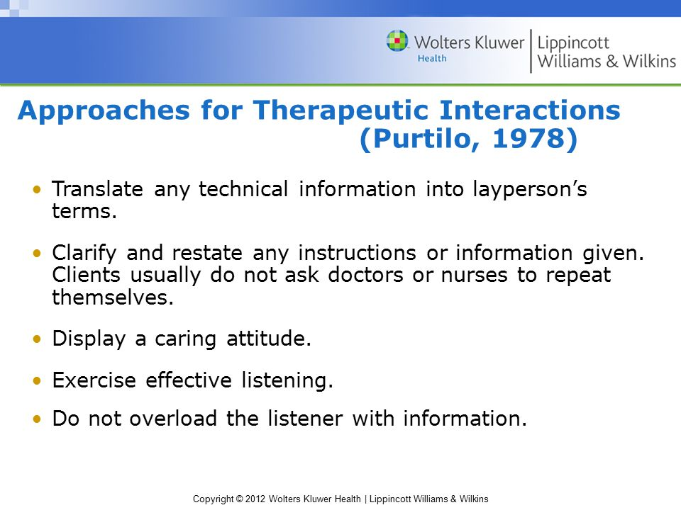 Approaches for Therapeutic Interactions (Purtilo, 1978)