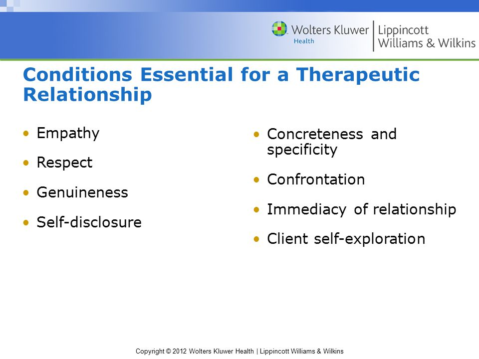 Conditions Essential for a Therapeutic Relationship