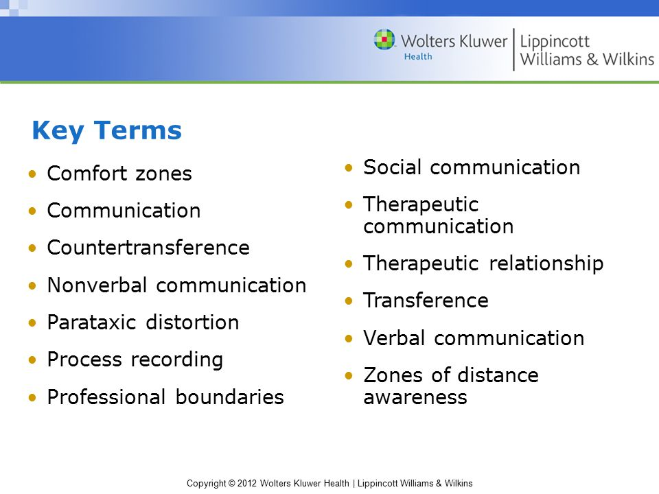 Key Terms Social communication Comfort zones Therapeutic communication