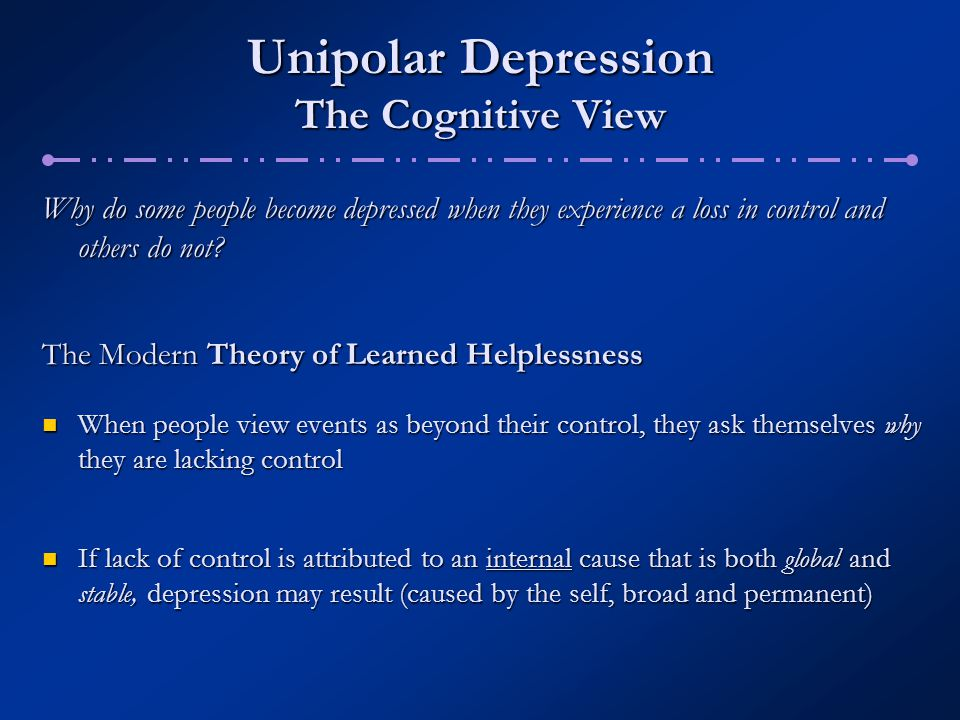 Unipolar Depression The Cognitive View