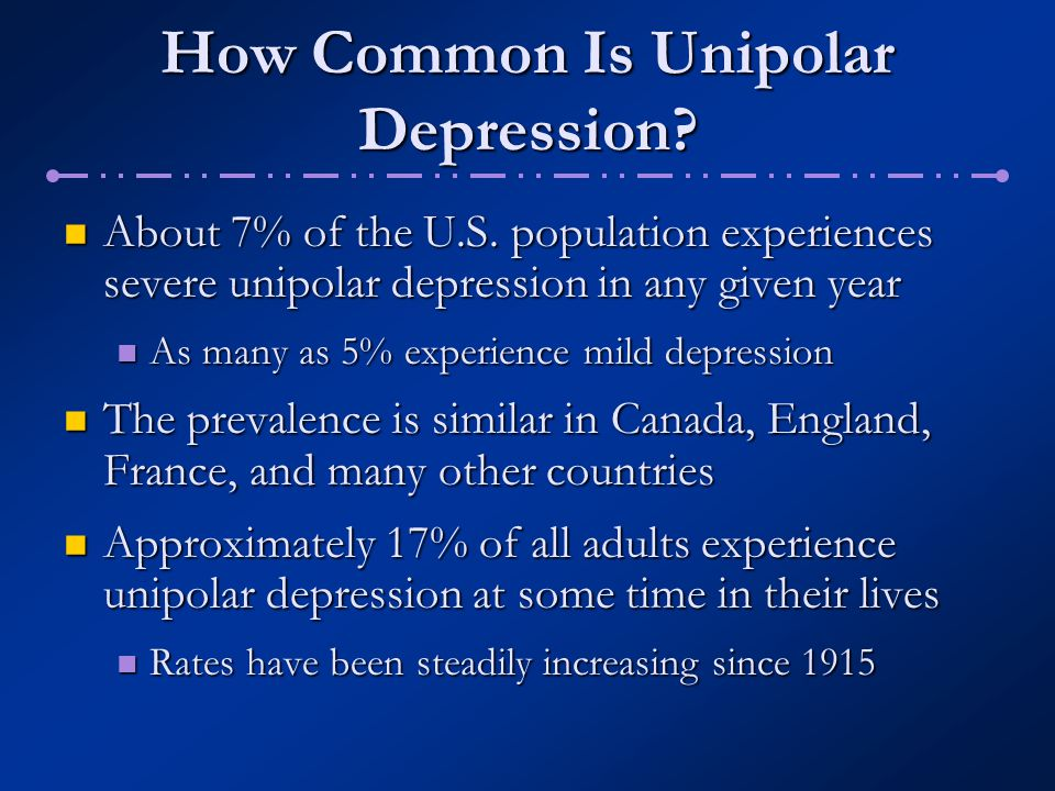 How Common Is Unipolar Depression