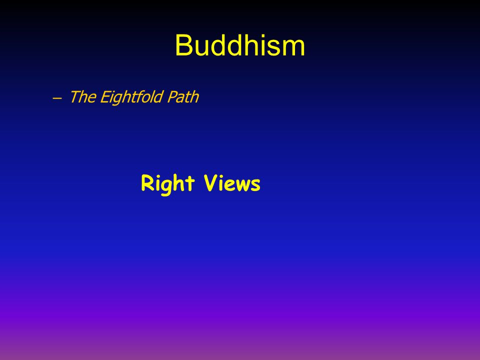 Buddhism The Eightfold Path Right Views