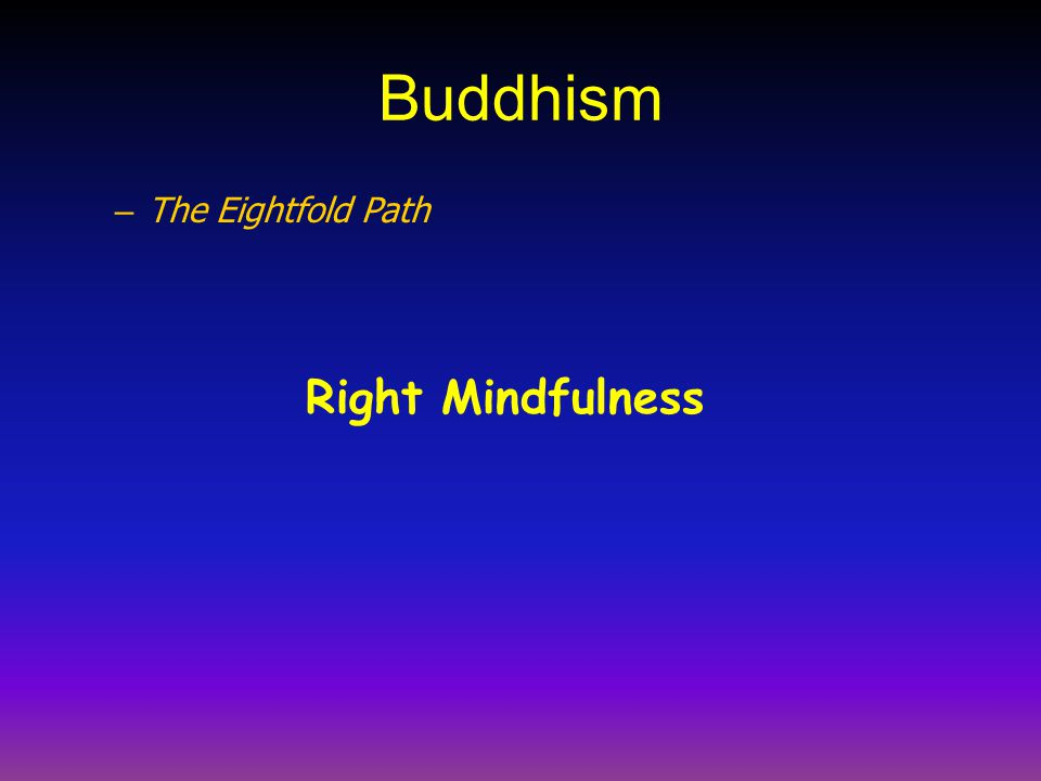 Buddhism The Eightfold Path Right Mindfulness