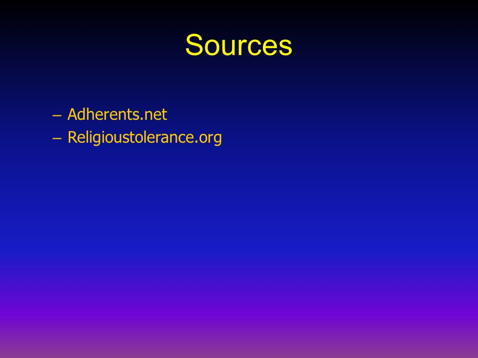 Sources Adherents.net Religioustolerance.org
