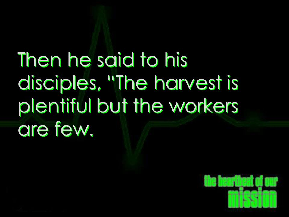 Matthew 9:37 Then he said to his disciples, The harvest is plentiful but the workers are few.