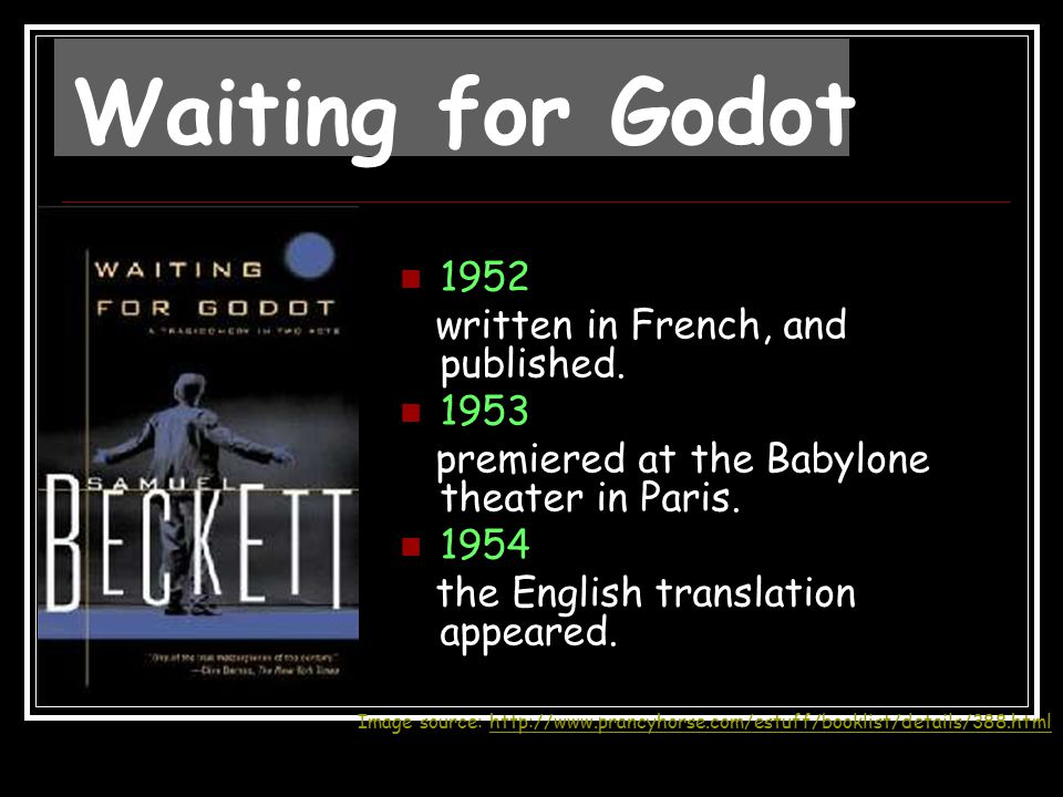Waiting for Godot 1952 written in French, and published. 1953