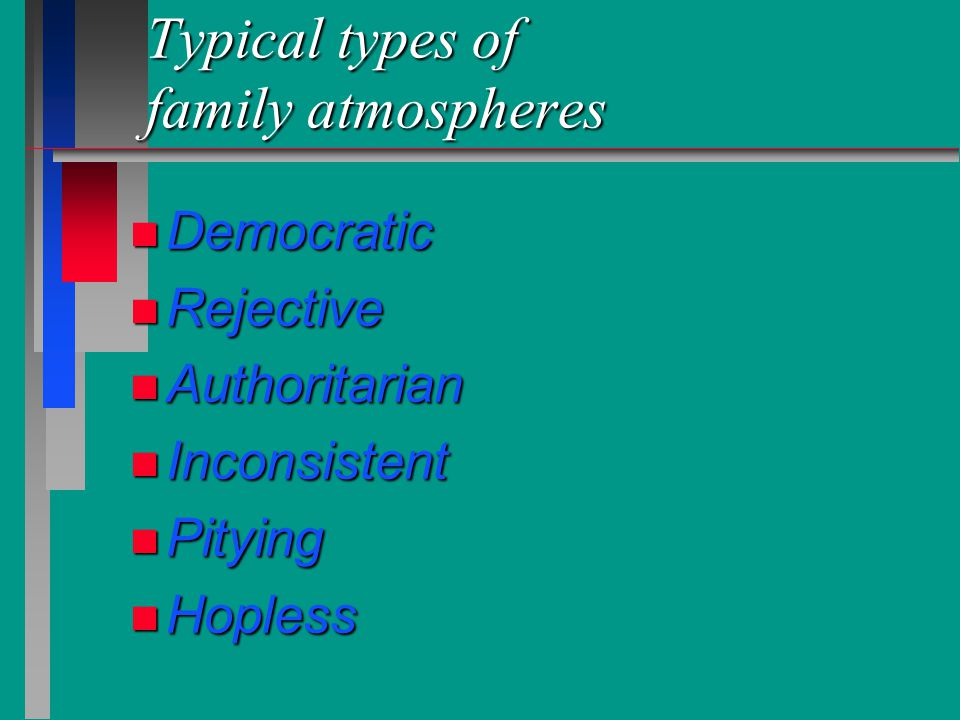 Typical types of family atmospheres