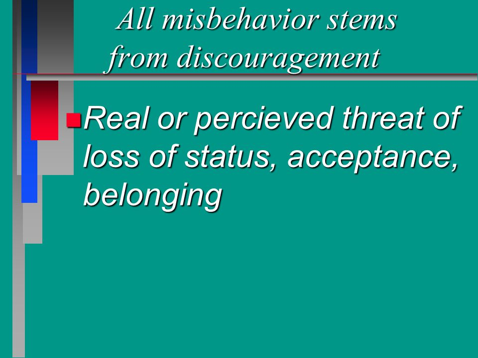 All misbehavior stems from discouragement