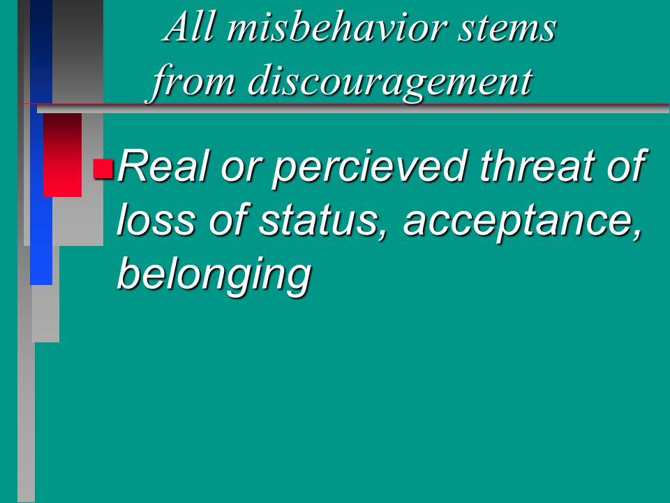 All misbehavior stems from discouragement