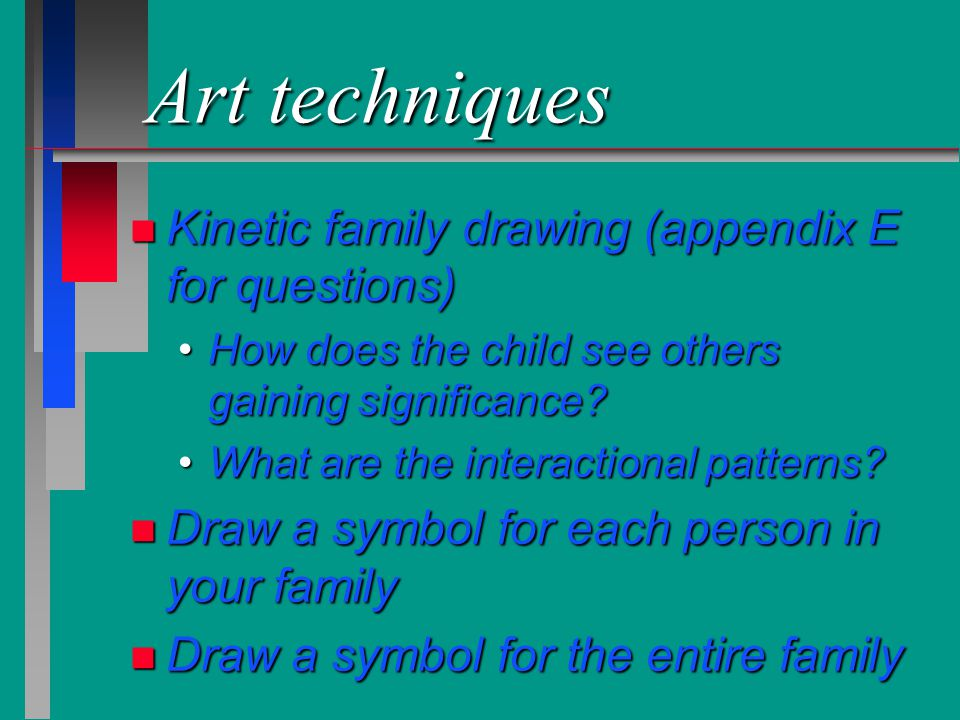 Art techniques Kinetic family drawing (appendix E for questions)