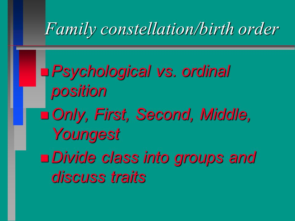 Family constellation/birth order