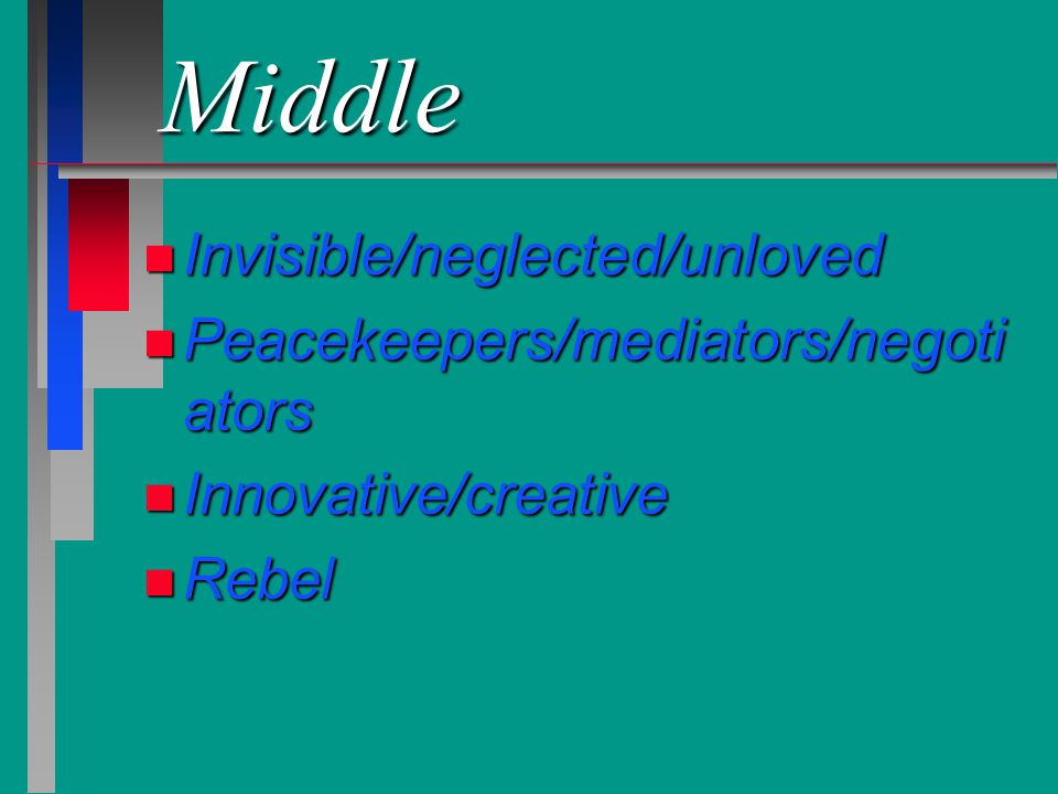 Middle Invisible/neglected/unloved Peacekeepers/mediators/negotiators