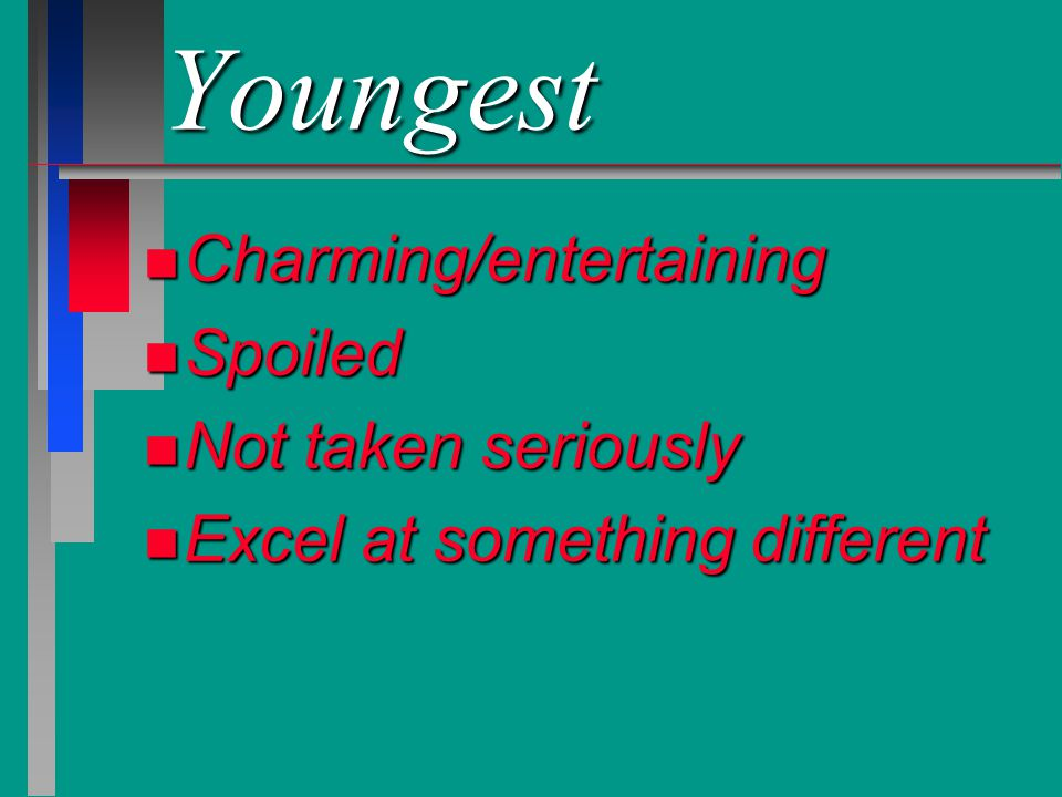 Youngest Charming/entertaining Spoiled Not taken seriously