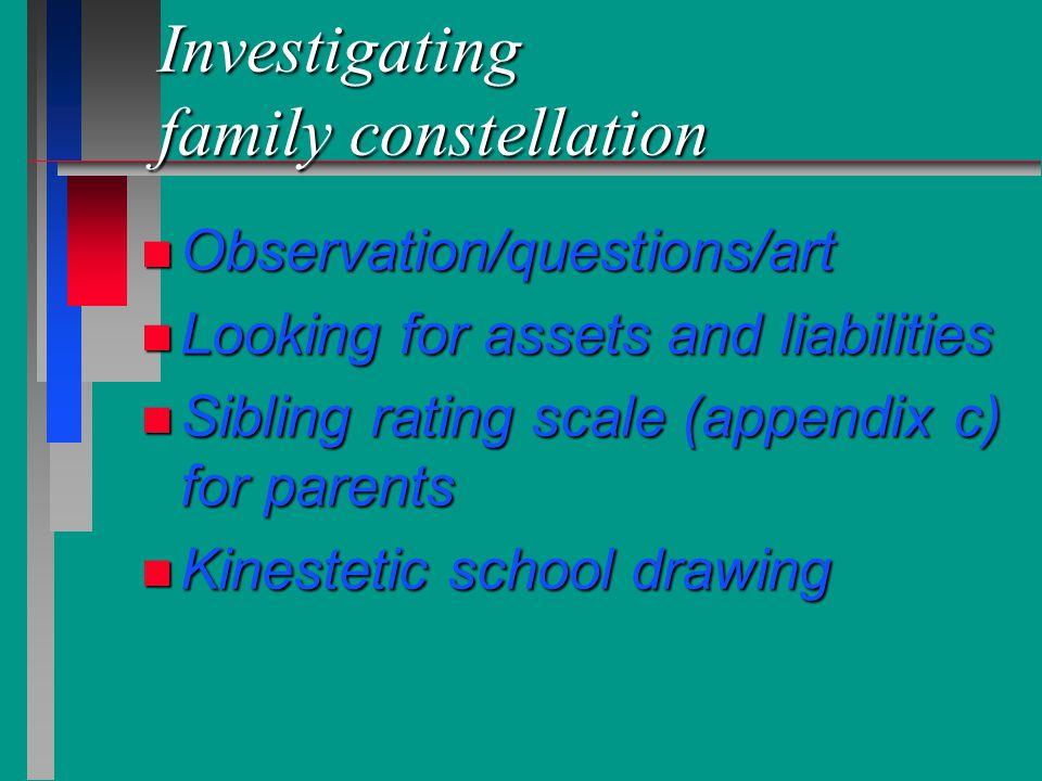 Investigating family constellation