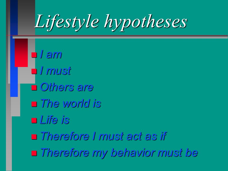 Lifestyle hypotheses I am I must Others are The world is Life is