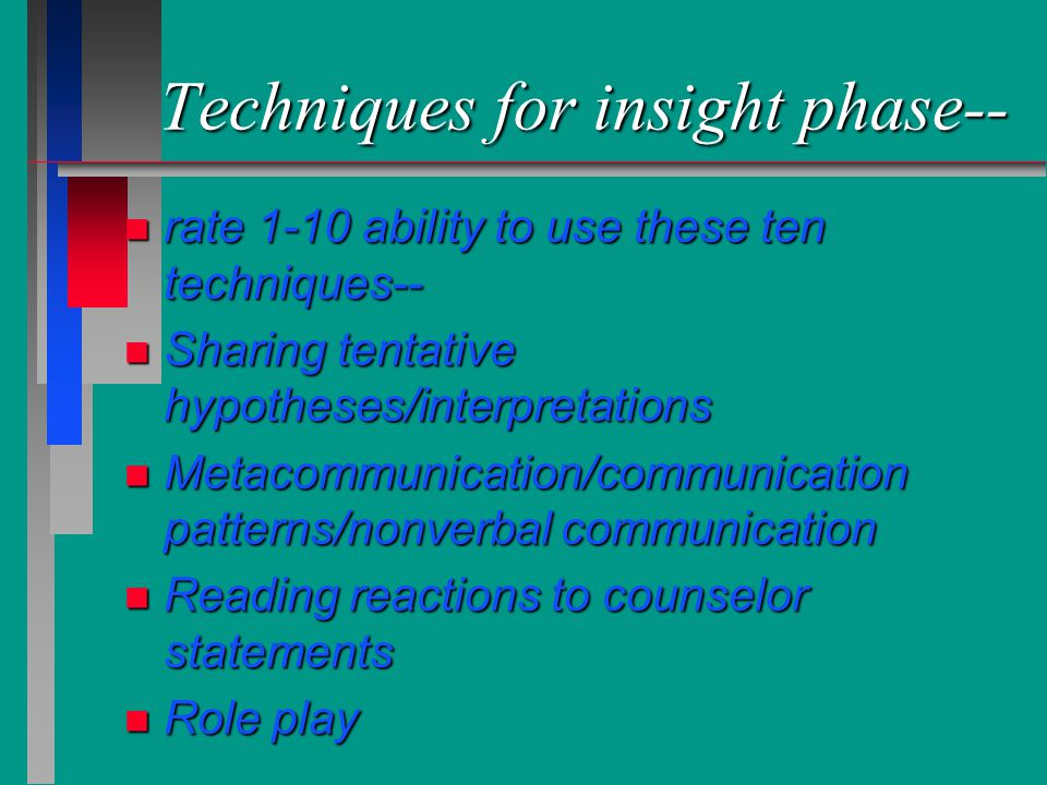 Techniques for insight phase--